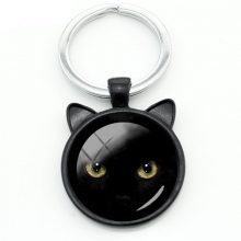 Glass Vintage Keychains with Black Cat
