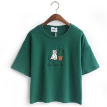 Women's Cotton T-shirts with Cat Embroidery