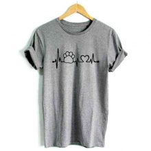 Women's T-shirt with Cat Heartbeat Print