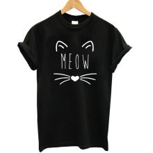 Cotton Women's T-Shirts with Meow Print
