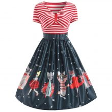 Vintage V-Neck Striped Dress for Women